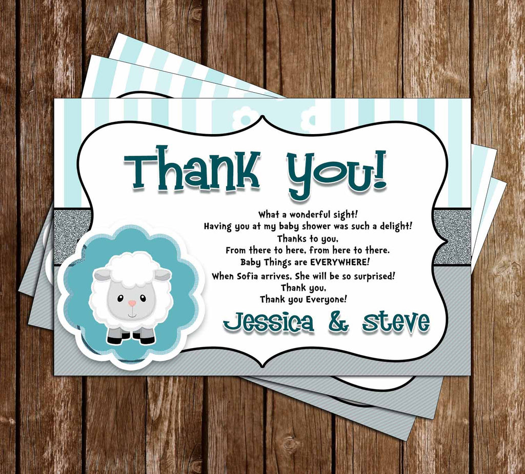 Little Lamb - Baby Shower - Thank You Card