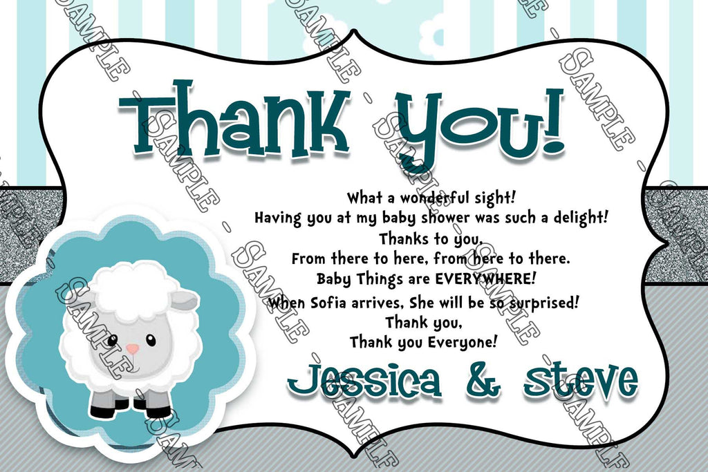 little lamb baby shower thank you card