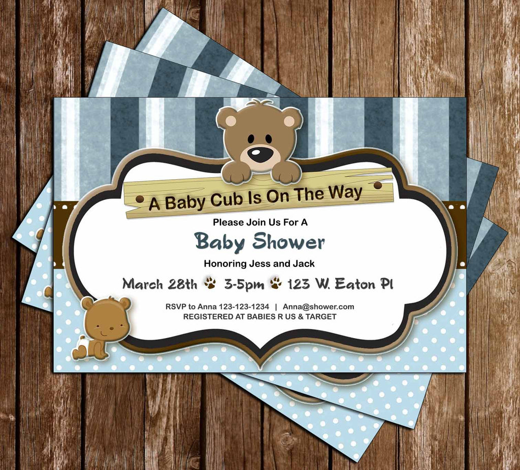 Novel concept designs little cub baby bear baby shower little cub baby bear baby shower invitation filmwisefo Choice Image