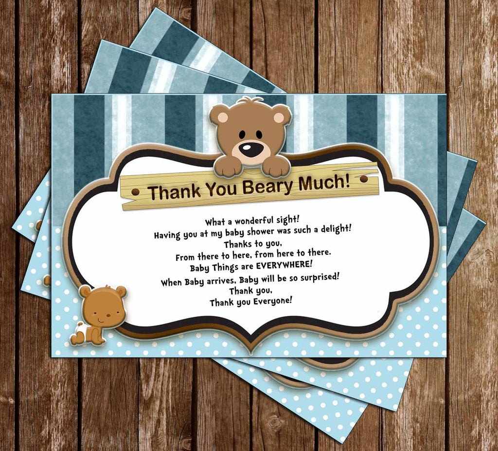 Little Cub - Baby Bear - Baby Shower - Thank You Card