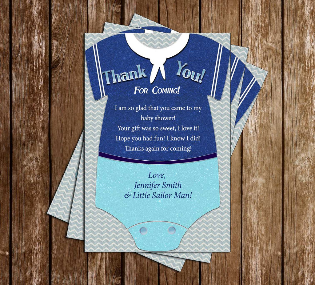 Little Sailor - Ahoy - Baby Shower - Thank You Card