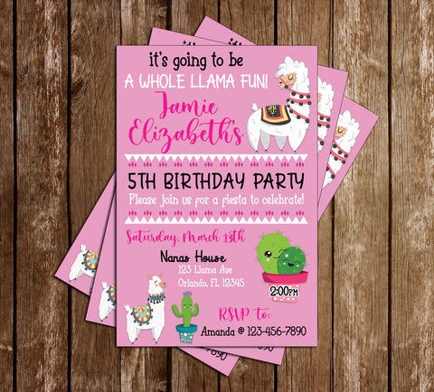Llama - Cactus  - Birthday Party - Invitations