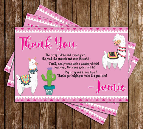 Llama - Cactus  - Birthday Party - Thank You Card