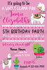 Llamas - Cactus  - Birthday Party - Invitations