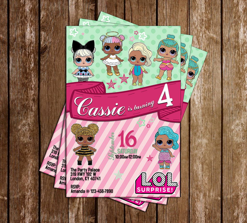 LOL Dolls - Green & Pink - Birthday Party Invitation