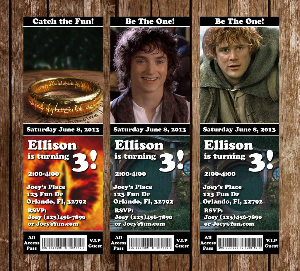 Lord of the Rings Birthday Ticket Invitations