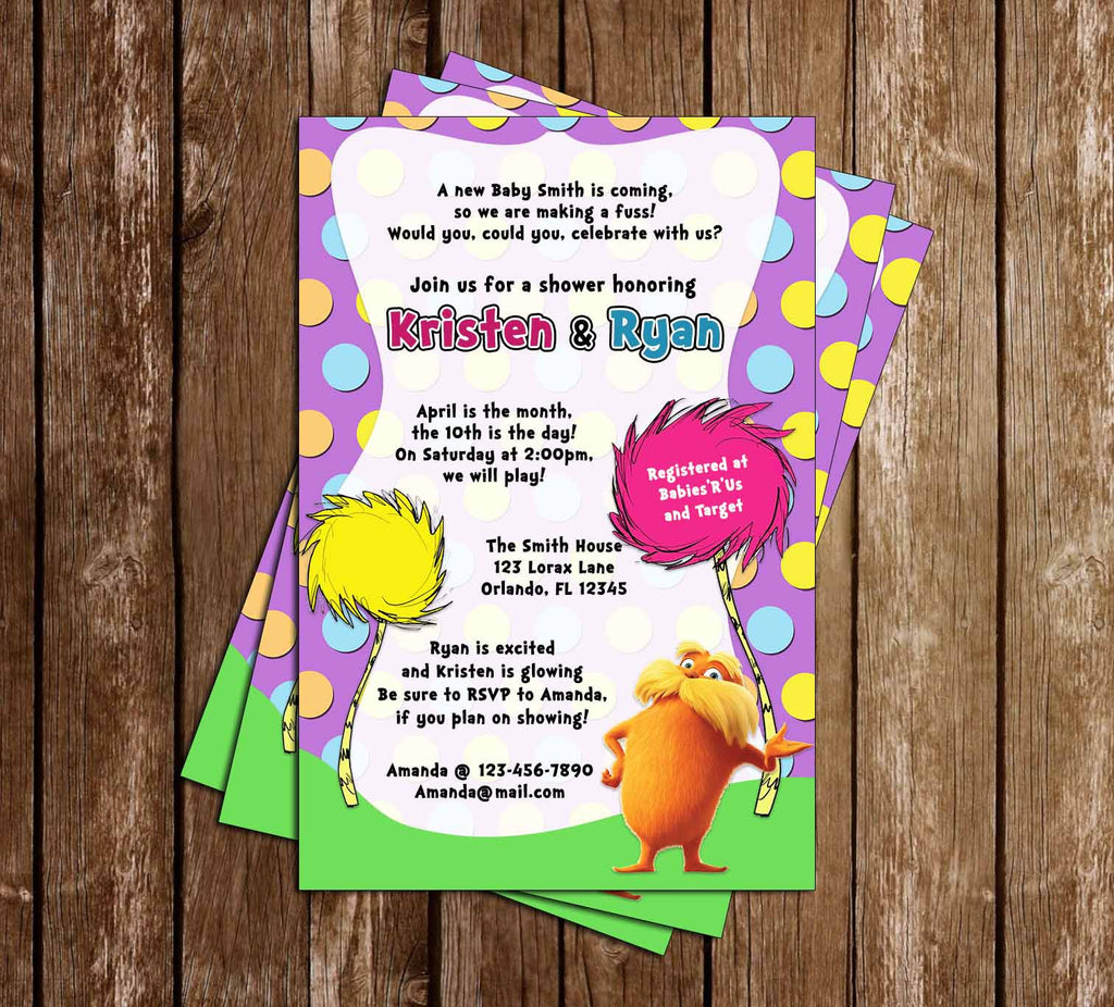 Novel Concept Designs - The Lorax - Dr Seuss - Baby Shower Invitation