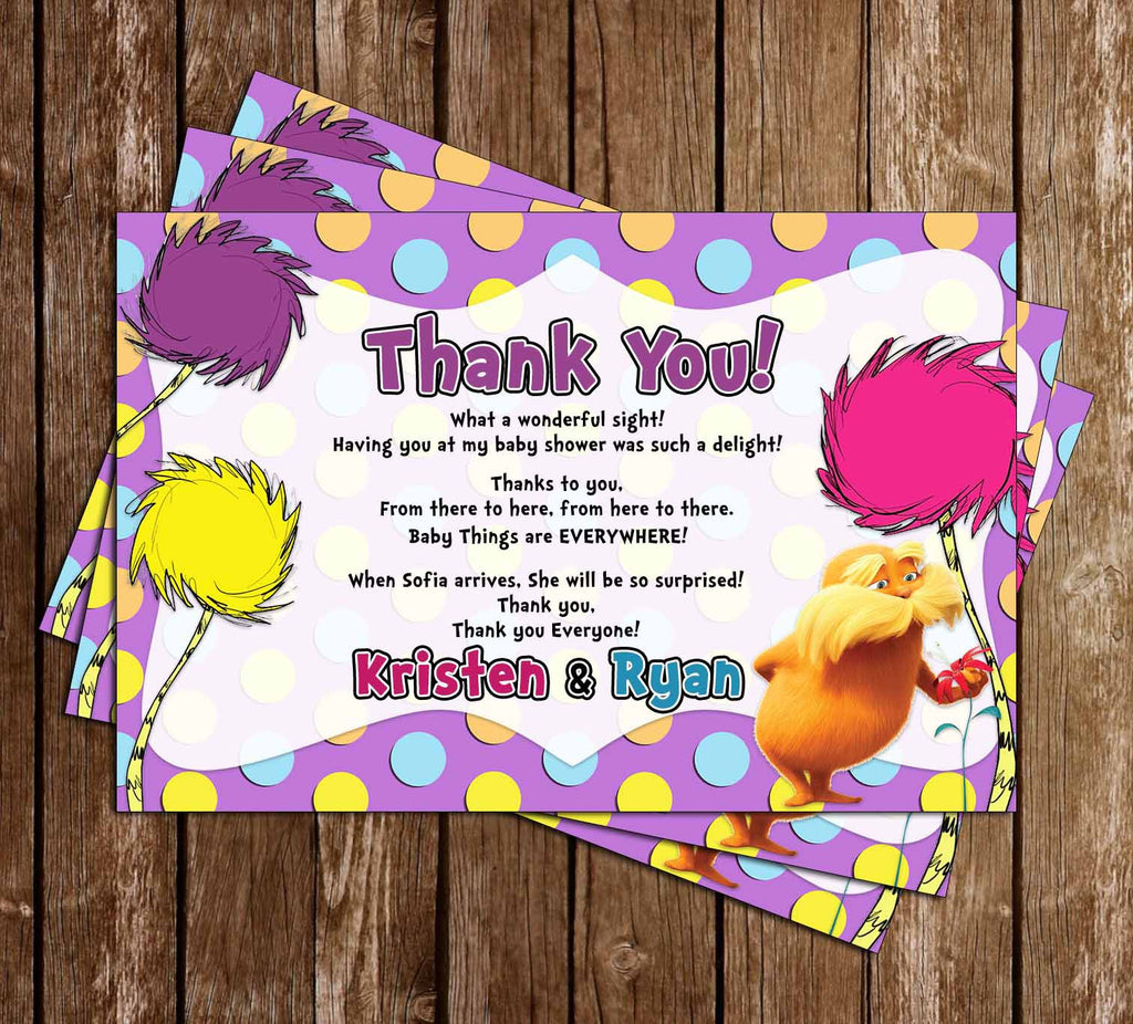 The Lorax - Dr Seuss - Baby Shower Thank You Card