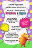Dr Seuss - The Lorax - Baby Shower - Bring a Book Insert