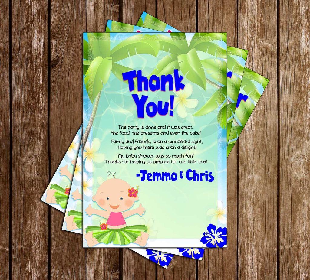 Luau - Hawaiian - Baby Shower - Thank You Card