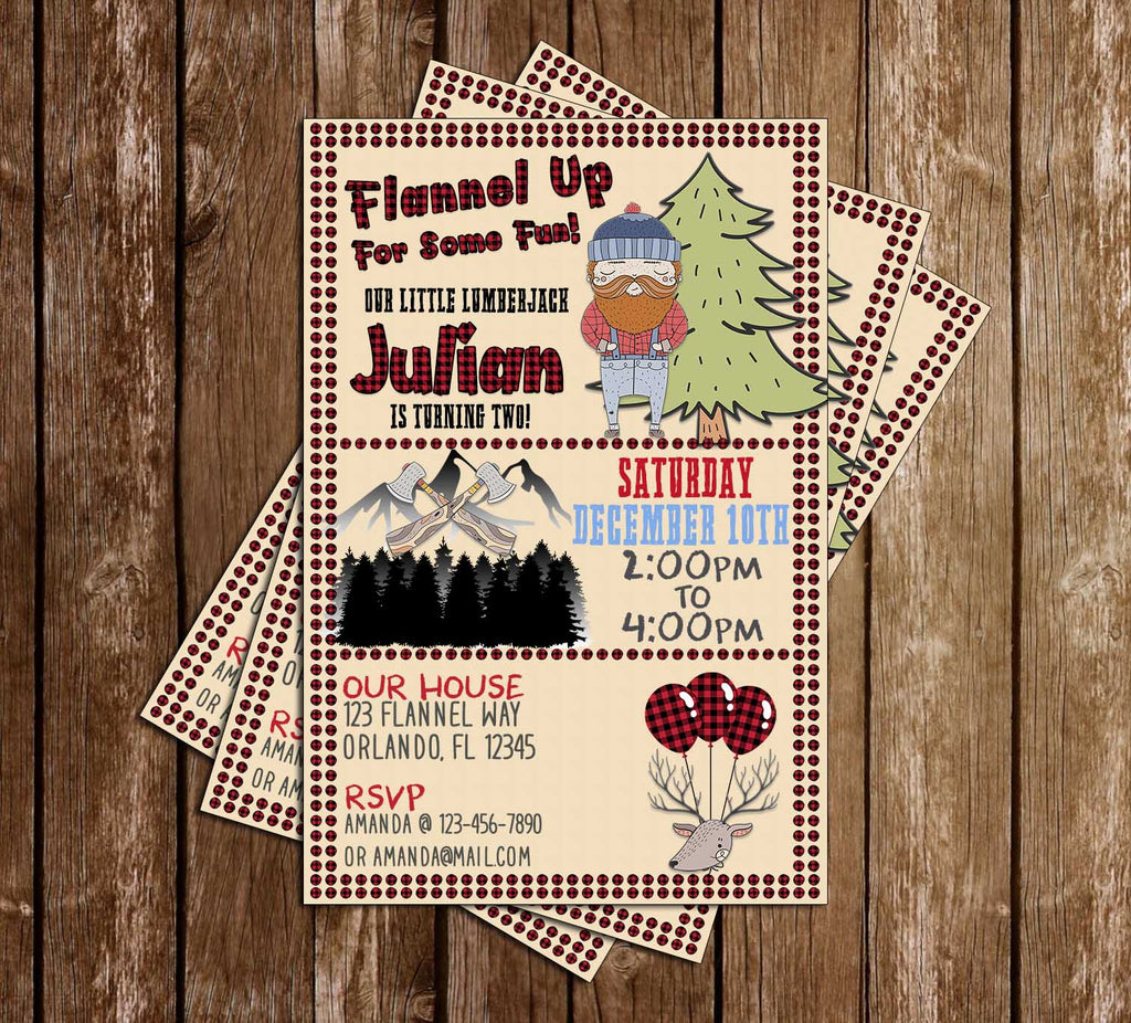 Lumberjack - Flannel Up! - Birthday Party - Invitation