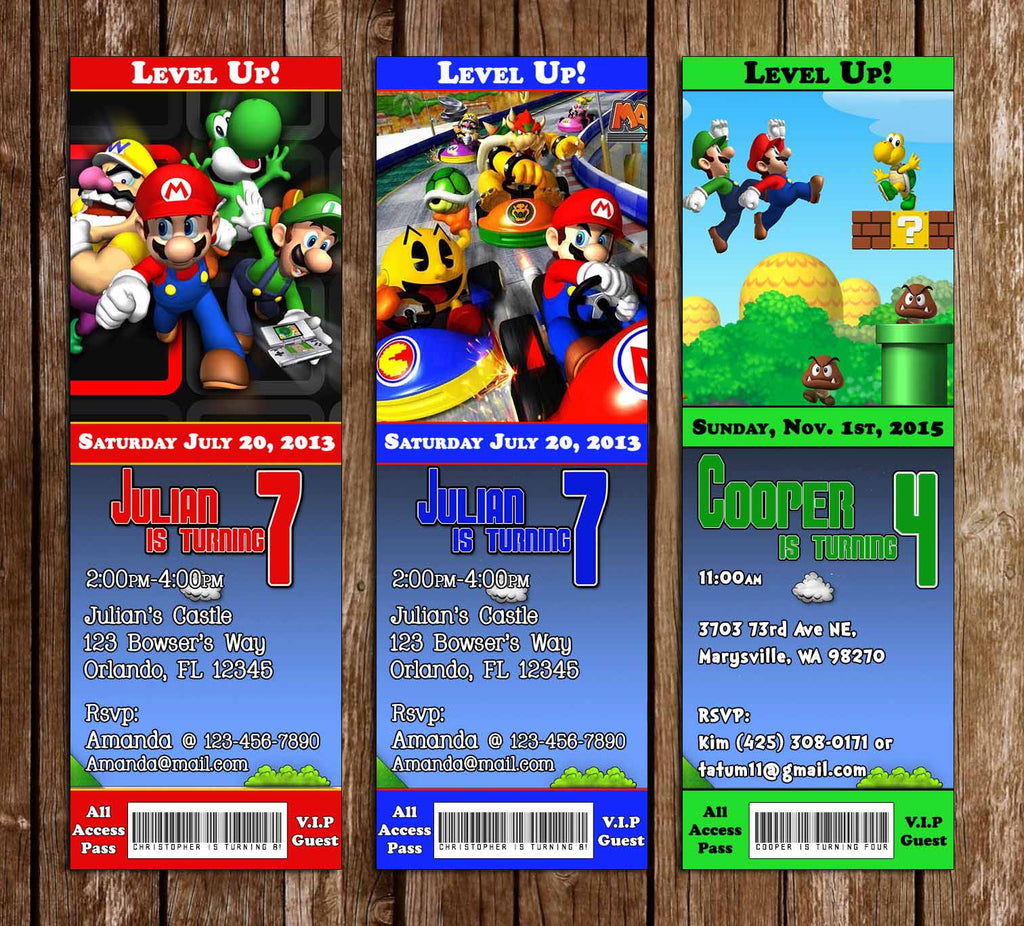 Super Mario Bros Ticket Video Game Birthday Party Invitation