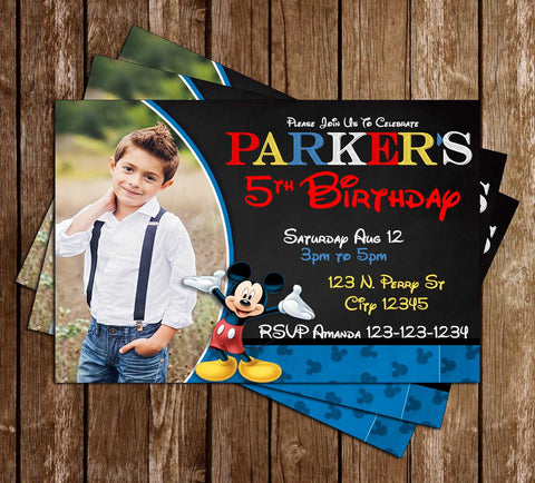 Disney - Mickey Mouse - Blue Photo - Birthday Invitation