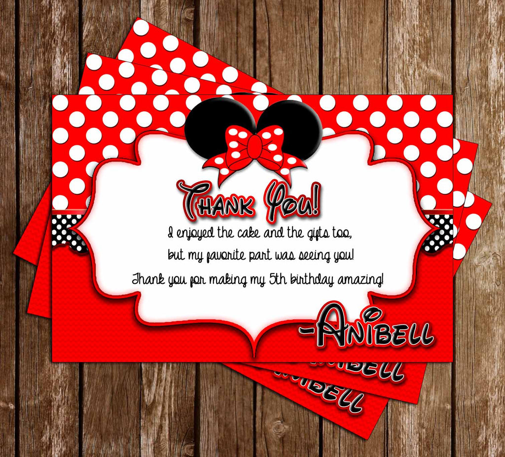Disney Minnie Mouse - Red Polka Dots - Birthday - Thank You Card