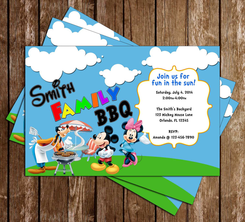 Mickey Mouse BBQ Birthday Party Invitation