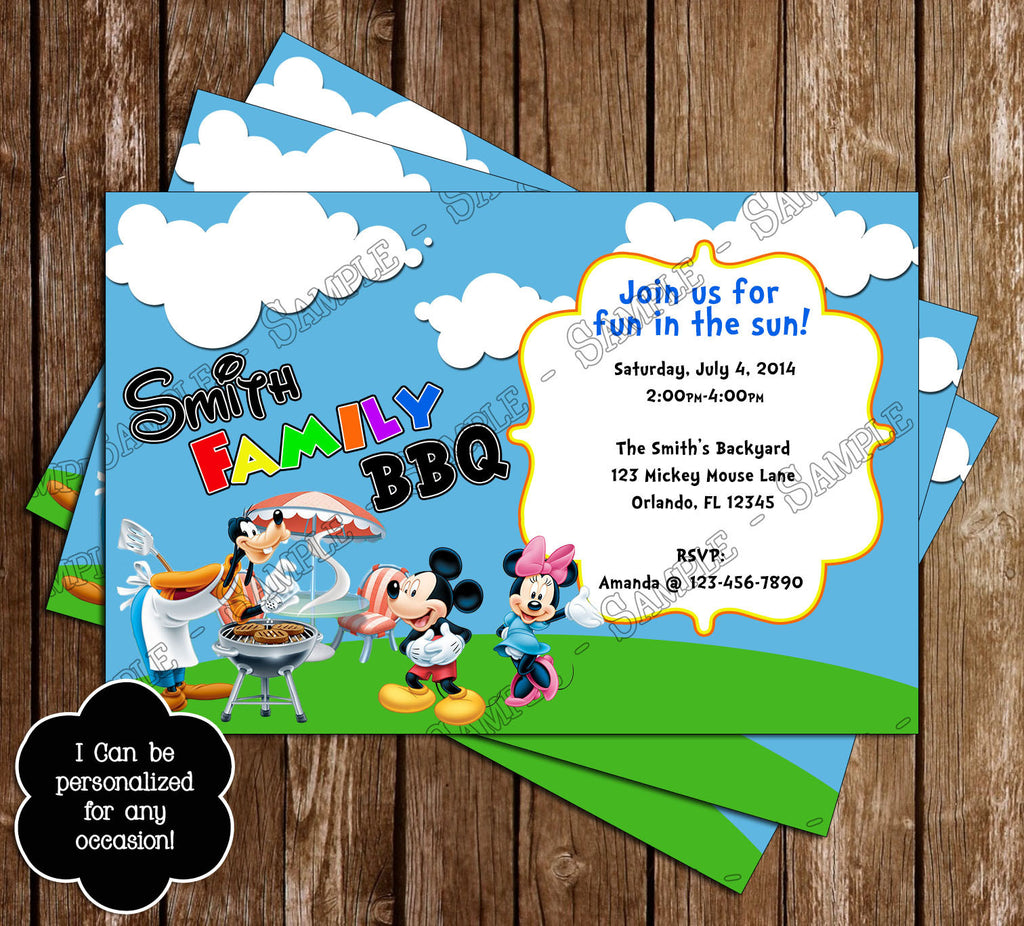 novel concept designs mickey mouse bbq birthday party invitation