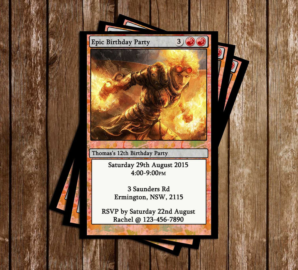 Magic The Gathering Card Game Birthday Invitation (Red)