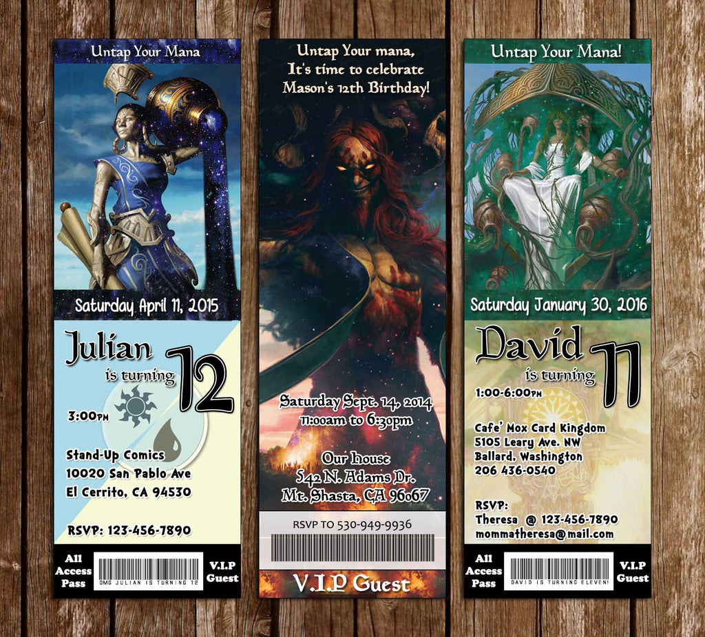 Magic the Gathering Card Game Birthday Party Ticket Invitations