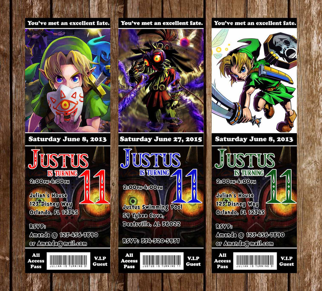 Novel concept designs the legend of zelda majoras mask game the legend of zelda majoras mask game birthday party ticket invitations stopboris Gallery