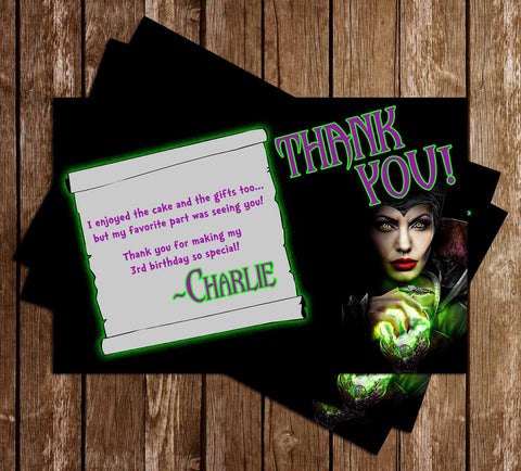 Disney Maleficent Movie Birthday Thank You Card
