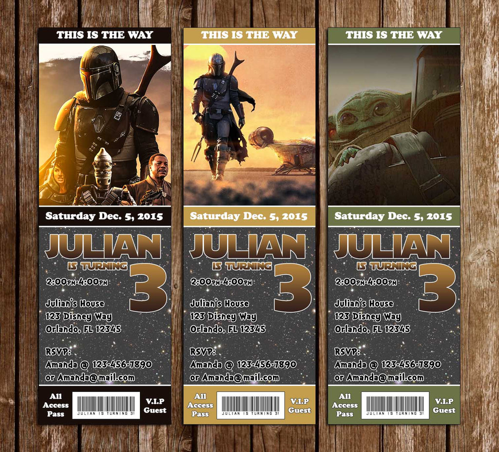 The Mandalorian - Star Wars - Birthday Party Ticket Invitation