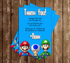 Super Mario Bros Birthday Party Thank You Card