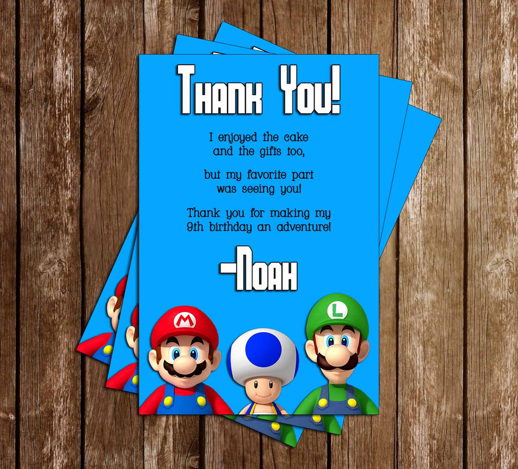Super Mario Bros Video Game Birthday Party Thank You Card