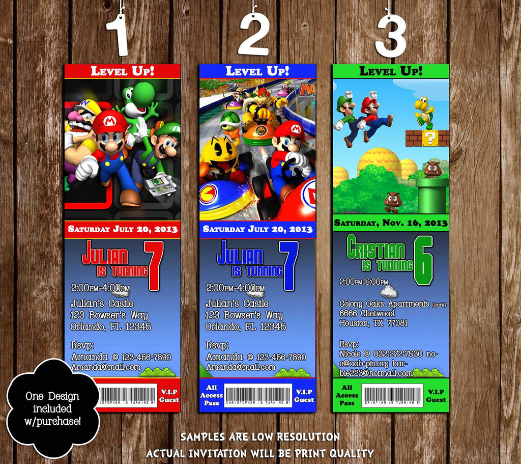 Novel Concept Designs - Super Mario Bros Ticket Video Game Birthday ...