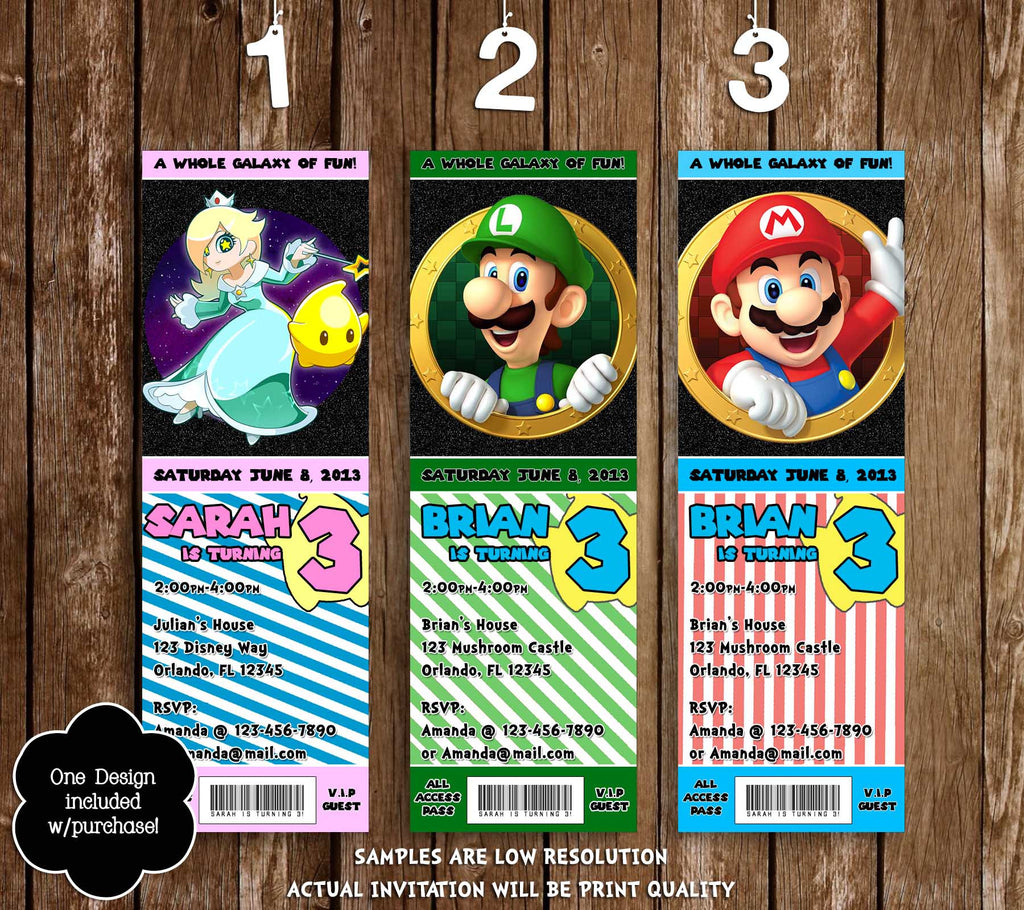 Novel Concept Designs Super Mario Galaxy 2 Video Game Birthday – Mario Party Invites