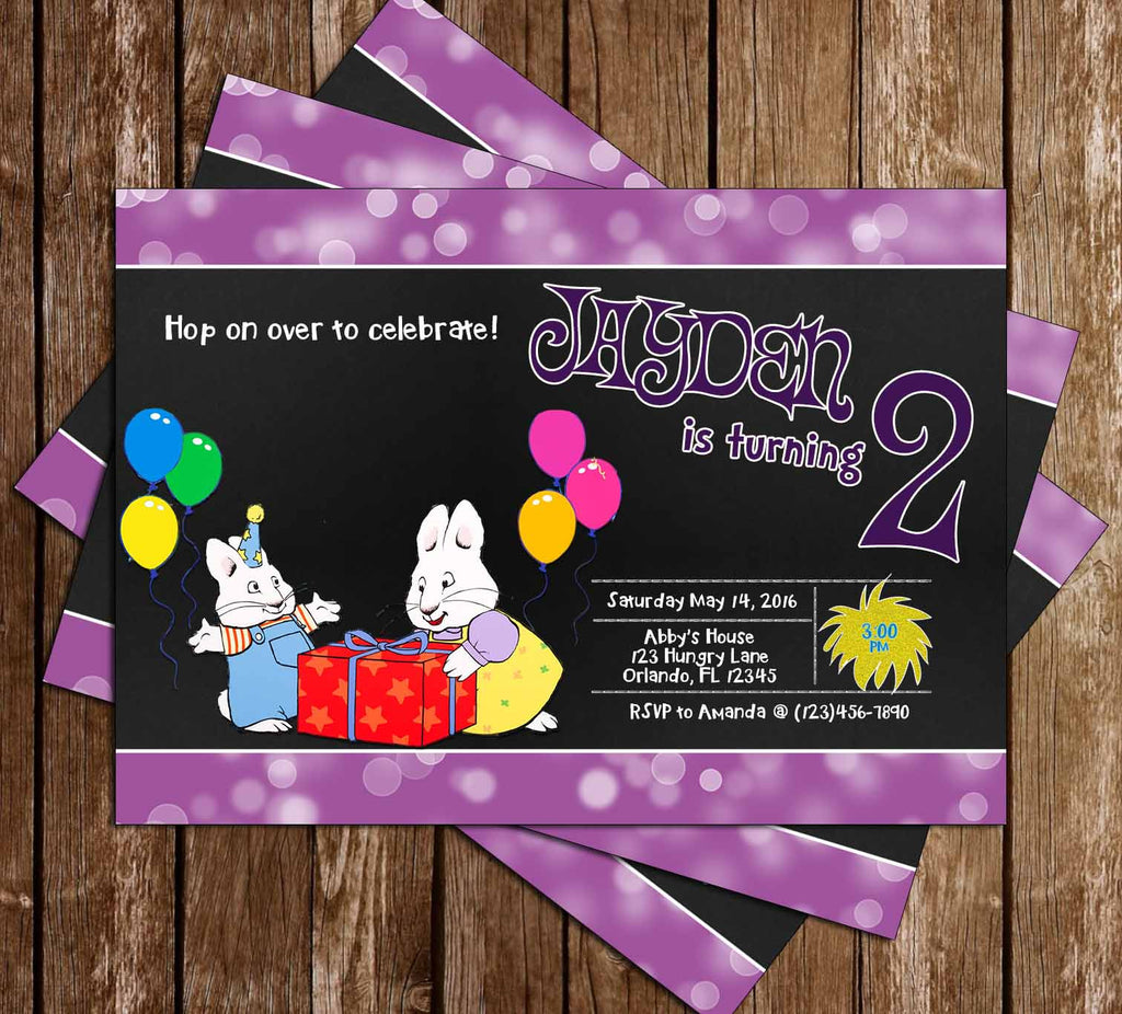 Nick Jr Max and Ruby Show - Chalk - Birthday Invitation