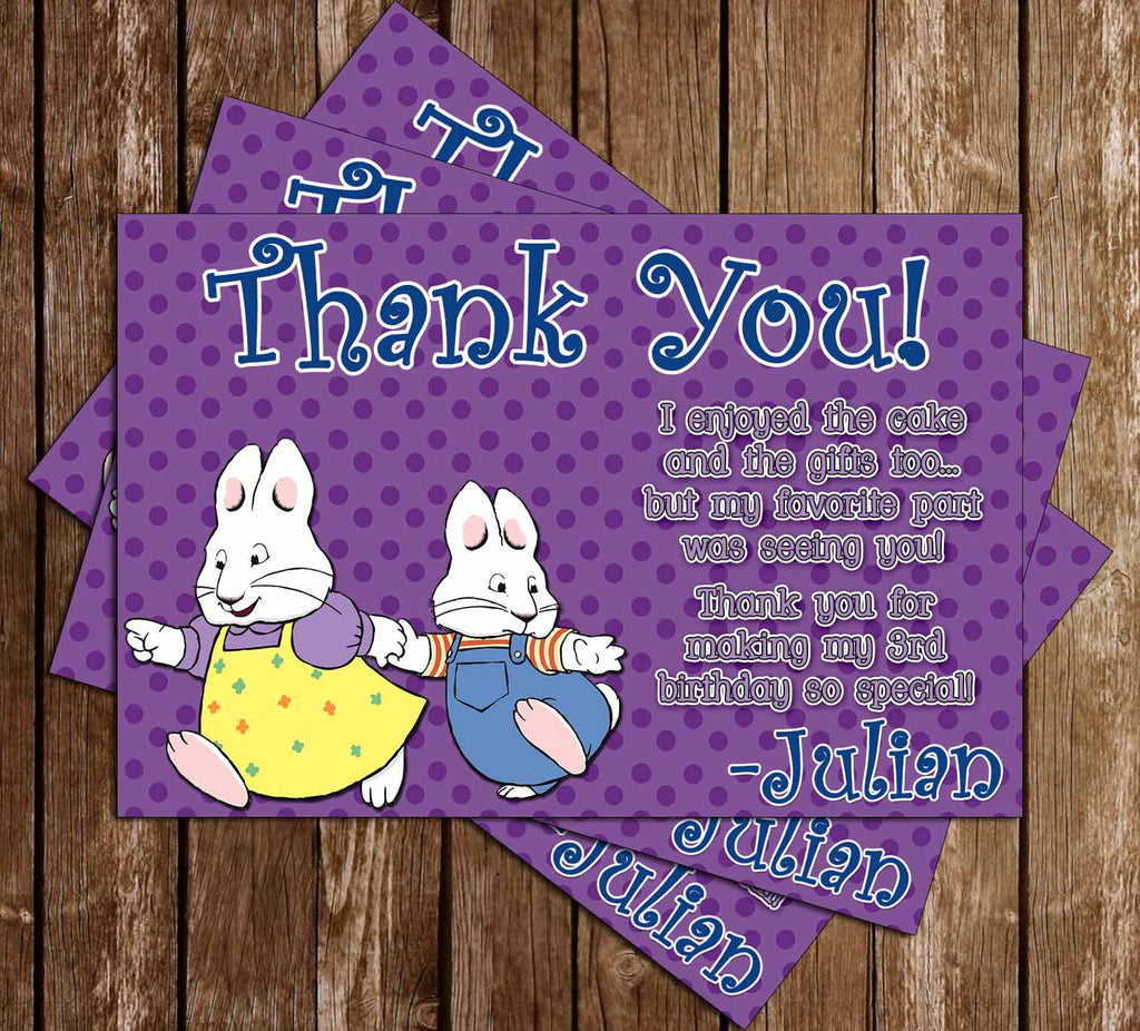 Nick Jr Max and Ruby Birthday Show Thank You Card (Polka Dot)