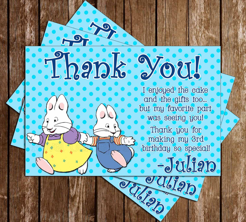 Max and Ruby Birthday Thank You Card (Polka Dot)