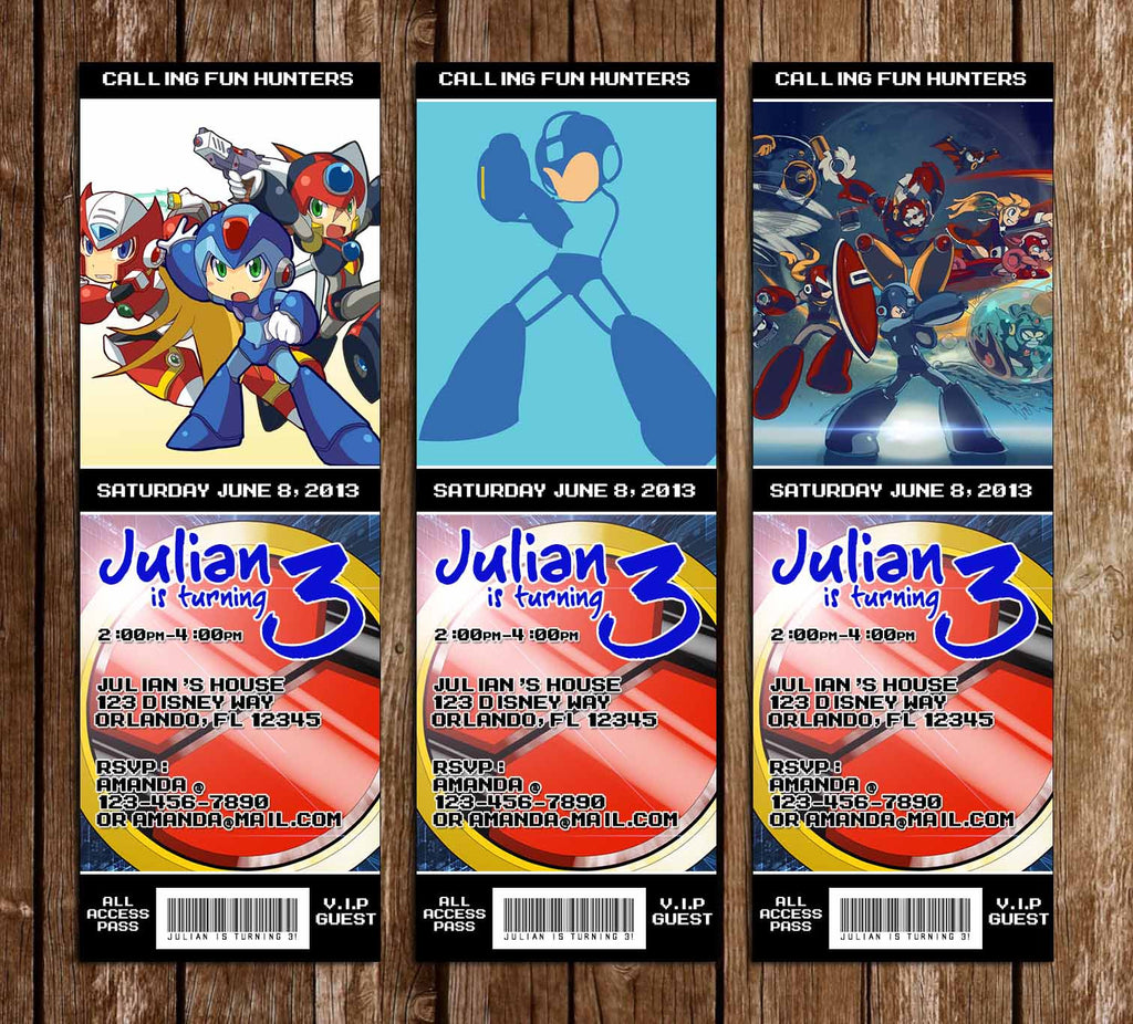 Megaman Game Birthday Party Ticket Invitations
