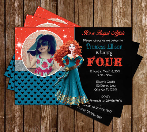 Disney Princess Merida - Brave Movie - Birthday Invitations