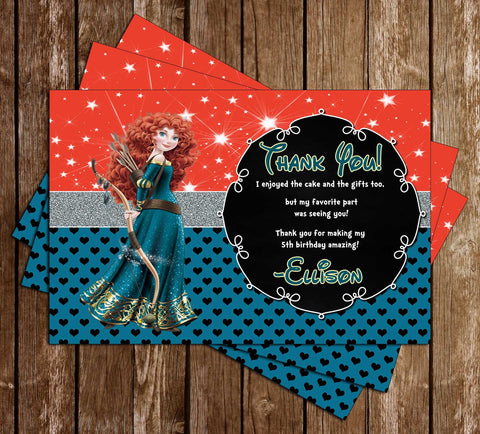 Disney Princess Merida - Brave Movie - Birthday Thank You Cards