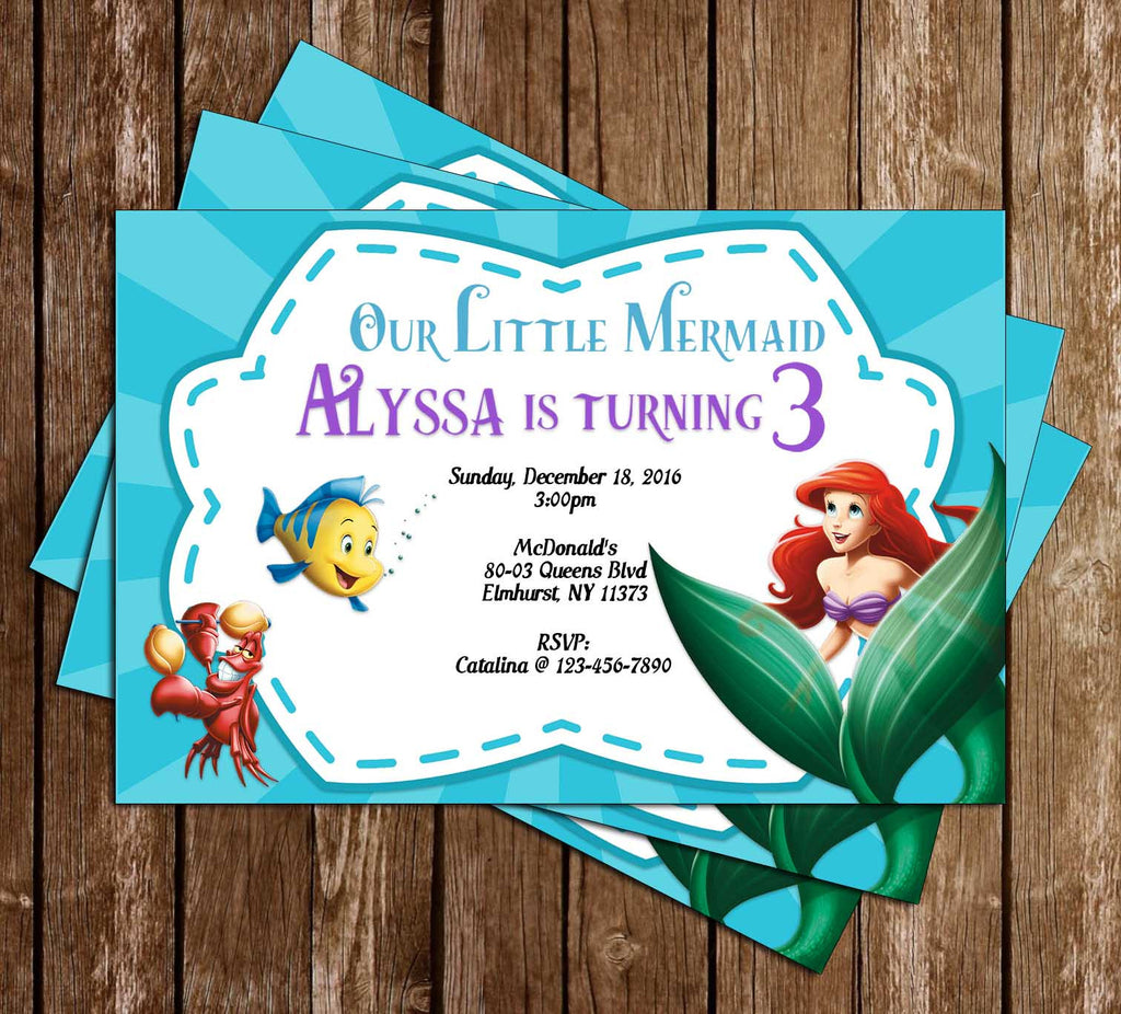 The Little Mermaid Birthday Invitation (Blue)