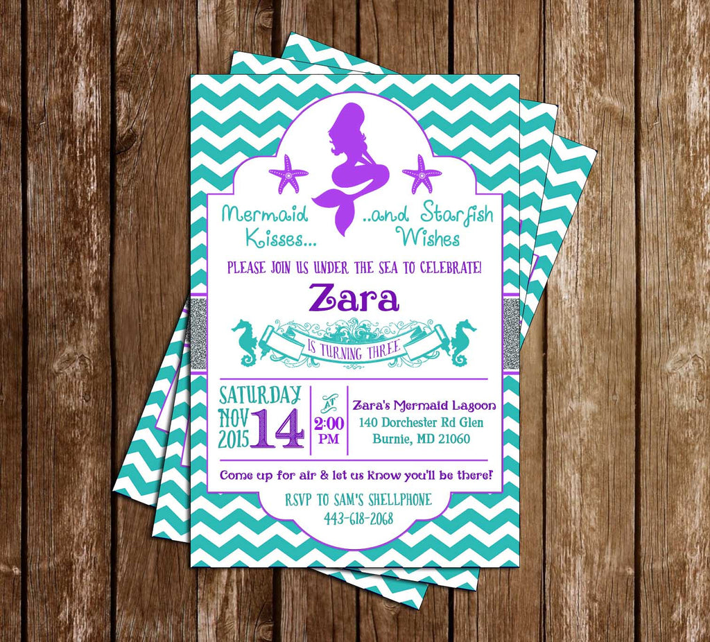 Mermaid Kisses and Starfish Wishes - Birthday Party Invitation - Printable