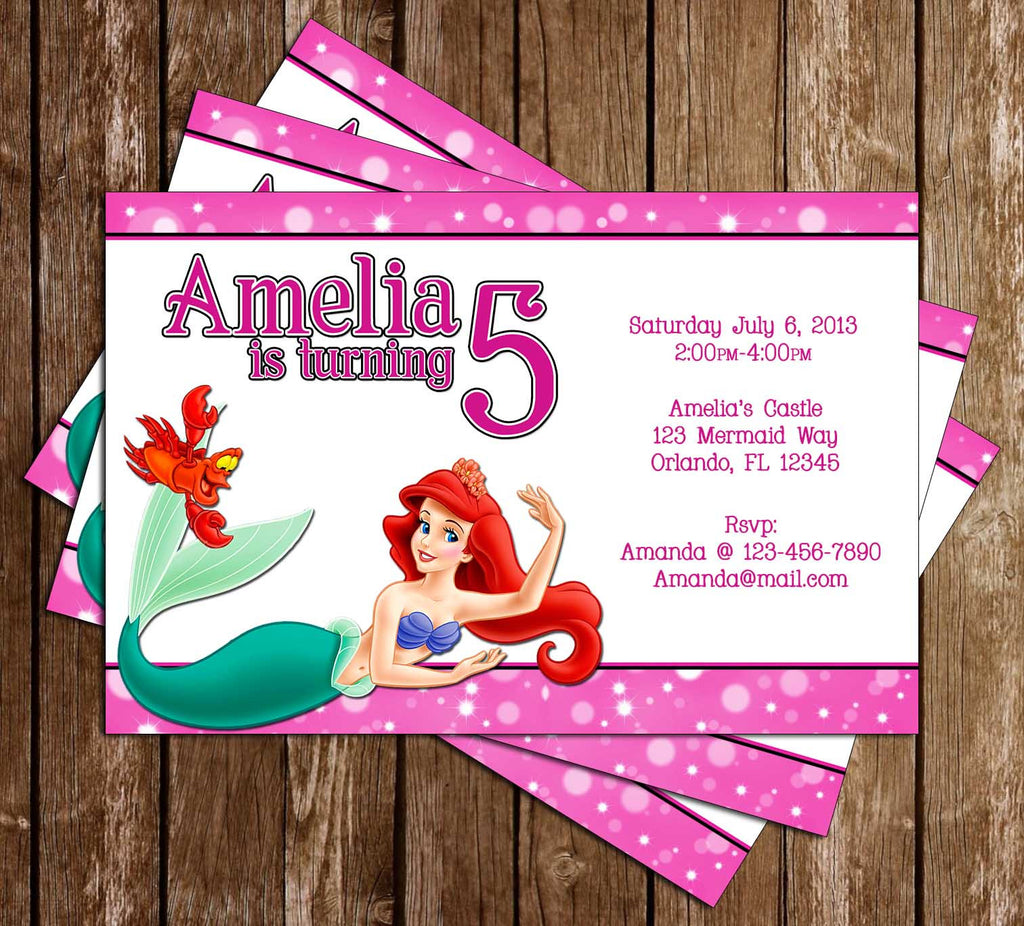 Disney The Little Mermaid Movie Birthday Invitation (Pink)