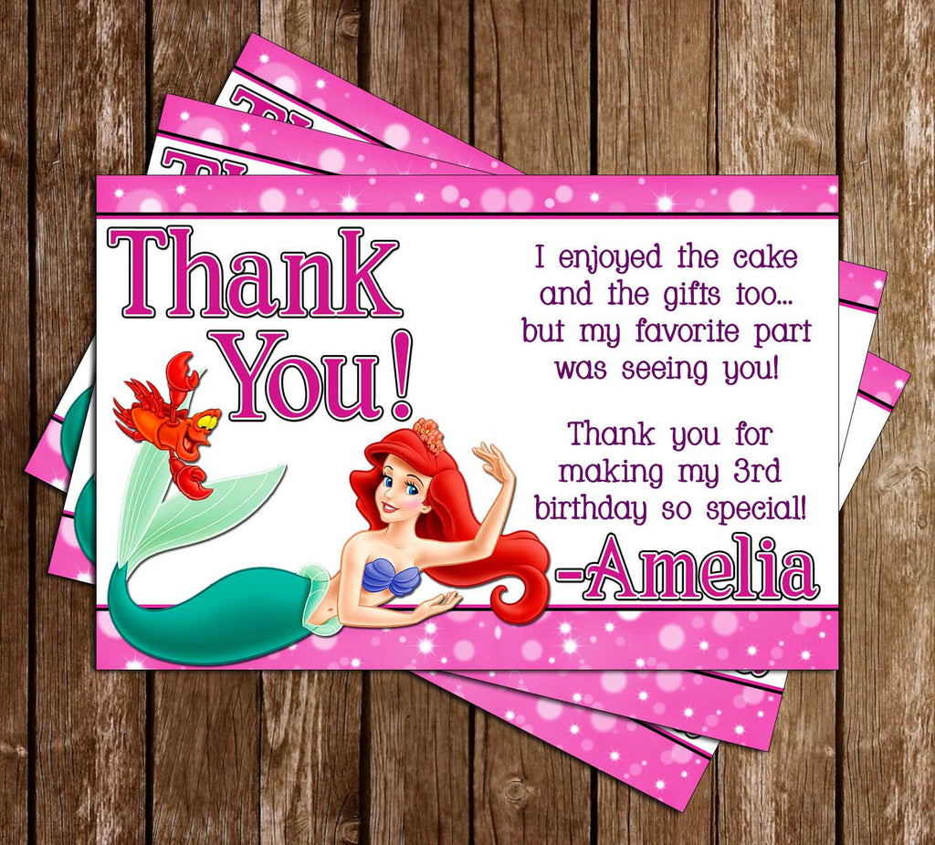 Disney The Little Mermaid Movie Thank You Card (Pink)