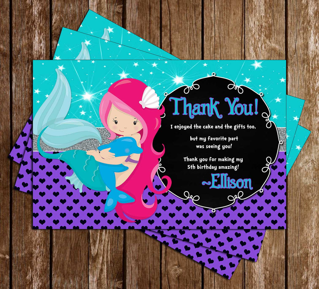 Mermaids - Under the Sea - Birthday Party Thank You Card