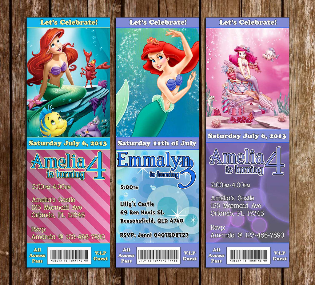 Disney The Little Mermaid Movie Birthday Ticket Invitation (3 Designs)