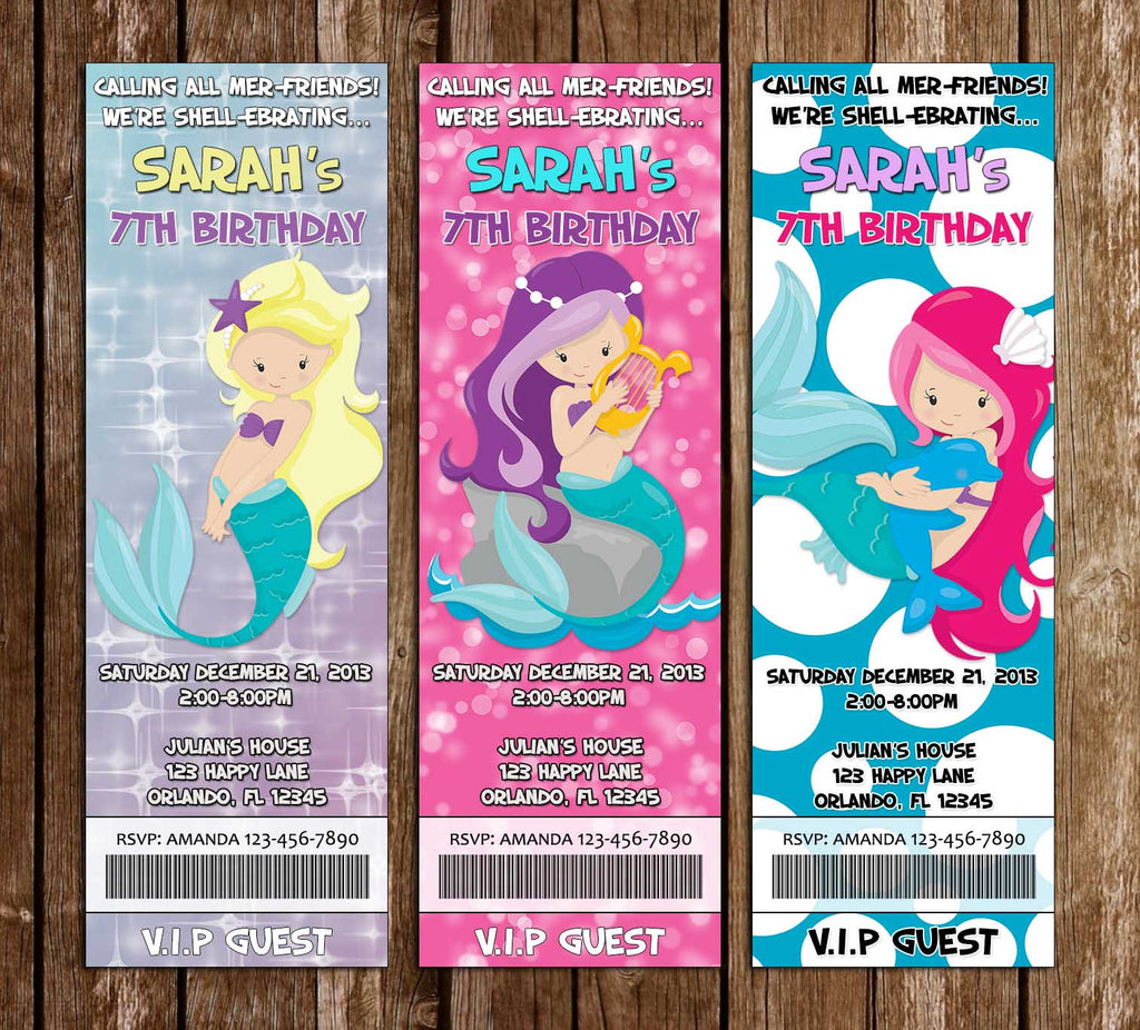 Under the Sea - Mermaid - Birthday Party Ticket Invitation