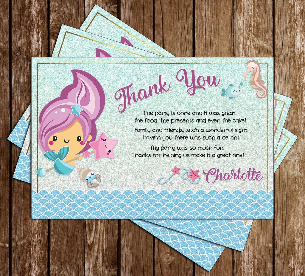 Mermaid - Glitter - Tall - Birthday - Party - Thank You Card
