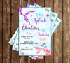 Mermaid - Splish Splash - Birthday Party - Invitation