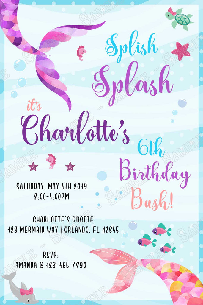 Mermaids Splish Splash Birthday Party Invitation