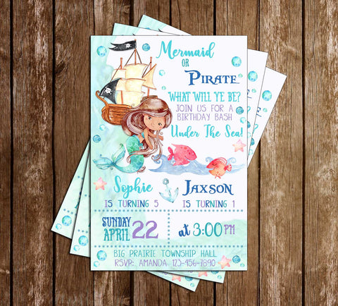Mermaid or Pirate - Under the Sea - Birthday Party - Invitation
