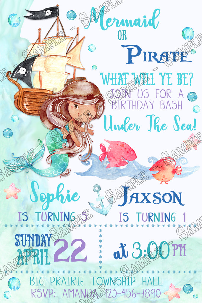Novel Concept Designs Mermaid Or Pirate Under The Sea Birthday