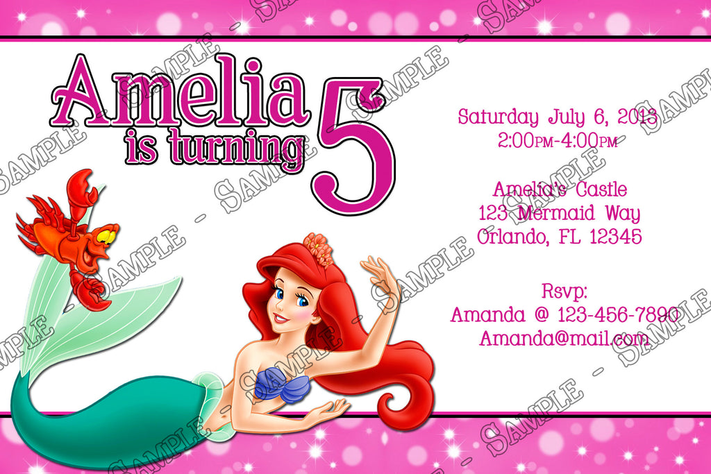 The Little Mermaid Birthday Invitation Pink