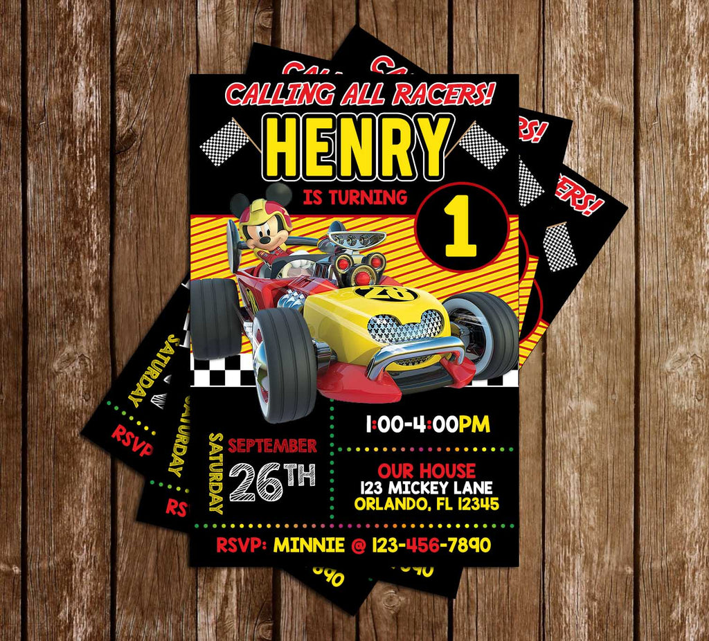 Mickey & Roadsters Racers - Flags - Birthday Party - Invitation