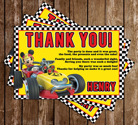 Mickey & Roadsters Racers - Flags - Birthday Party - Thank You Card